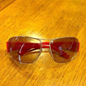 Prada, red, Unisex sunglasses (aviator style)